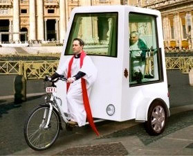 Yannick Read-designed pedal-powered Popemobile
