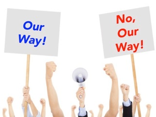 Our way! No, our way!
