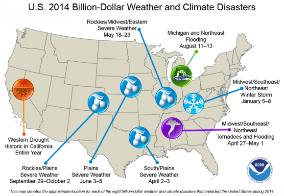 US 2014 Billion-Dollar Weather & Climate Disasters