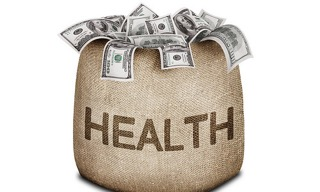 Bag labeled Health full of cash